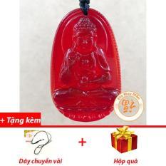 Mặt Dây Chuyền Phật Bản Mệnh A Di Đà Lưu Ly Đỏ Nhí