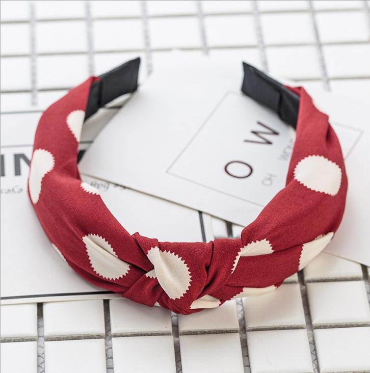 Bờm cài tóc thời trang cao cấp bản to đỏ chấm trắng (BN24-A)