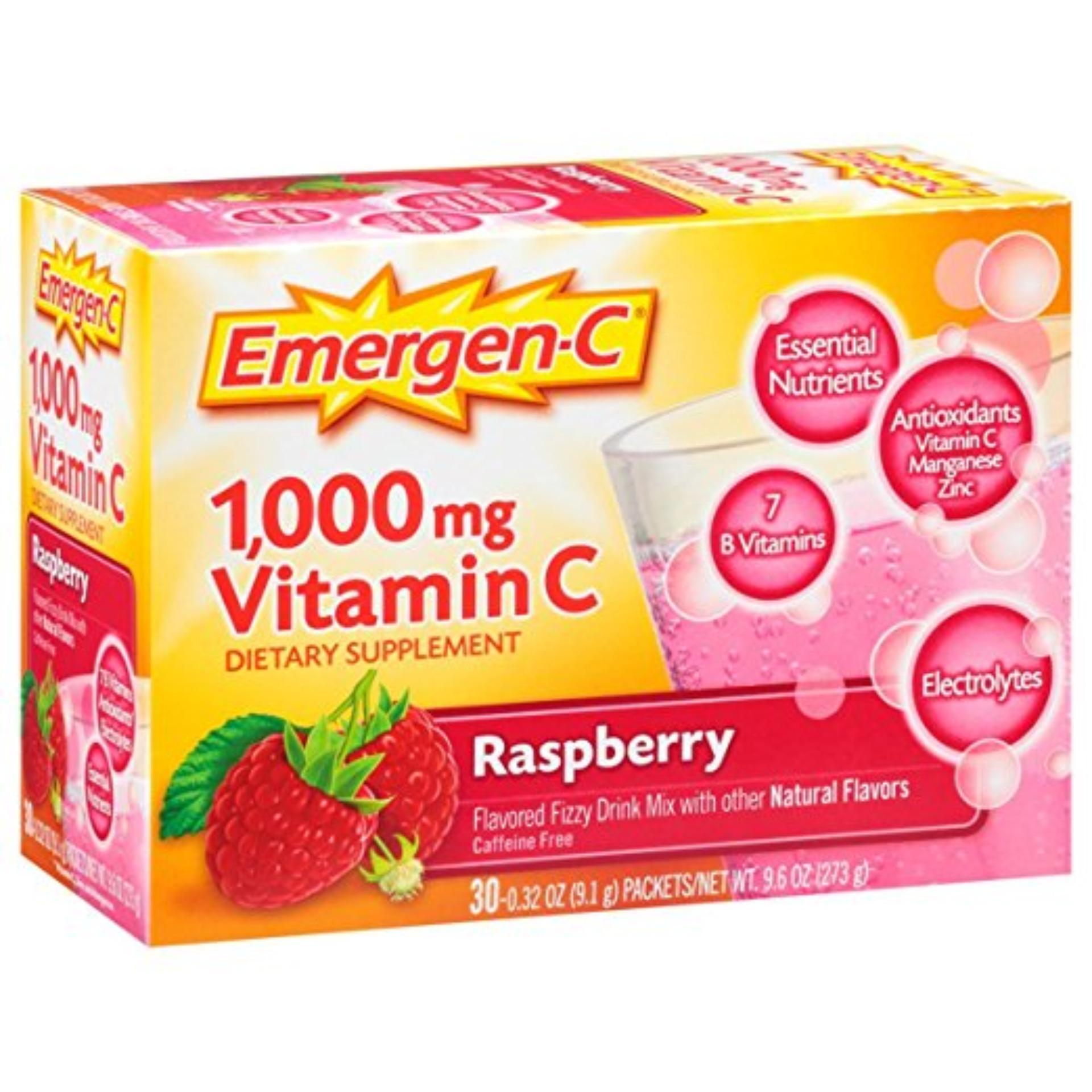 Bột pha nước trái cây vị mâm xôi Emergen-C (30 gói)