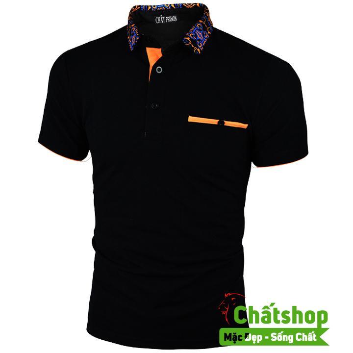 Giá Áo Thun Polo Cổ Hoa Văn (Màu Đen) Tại Chất Shop