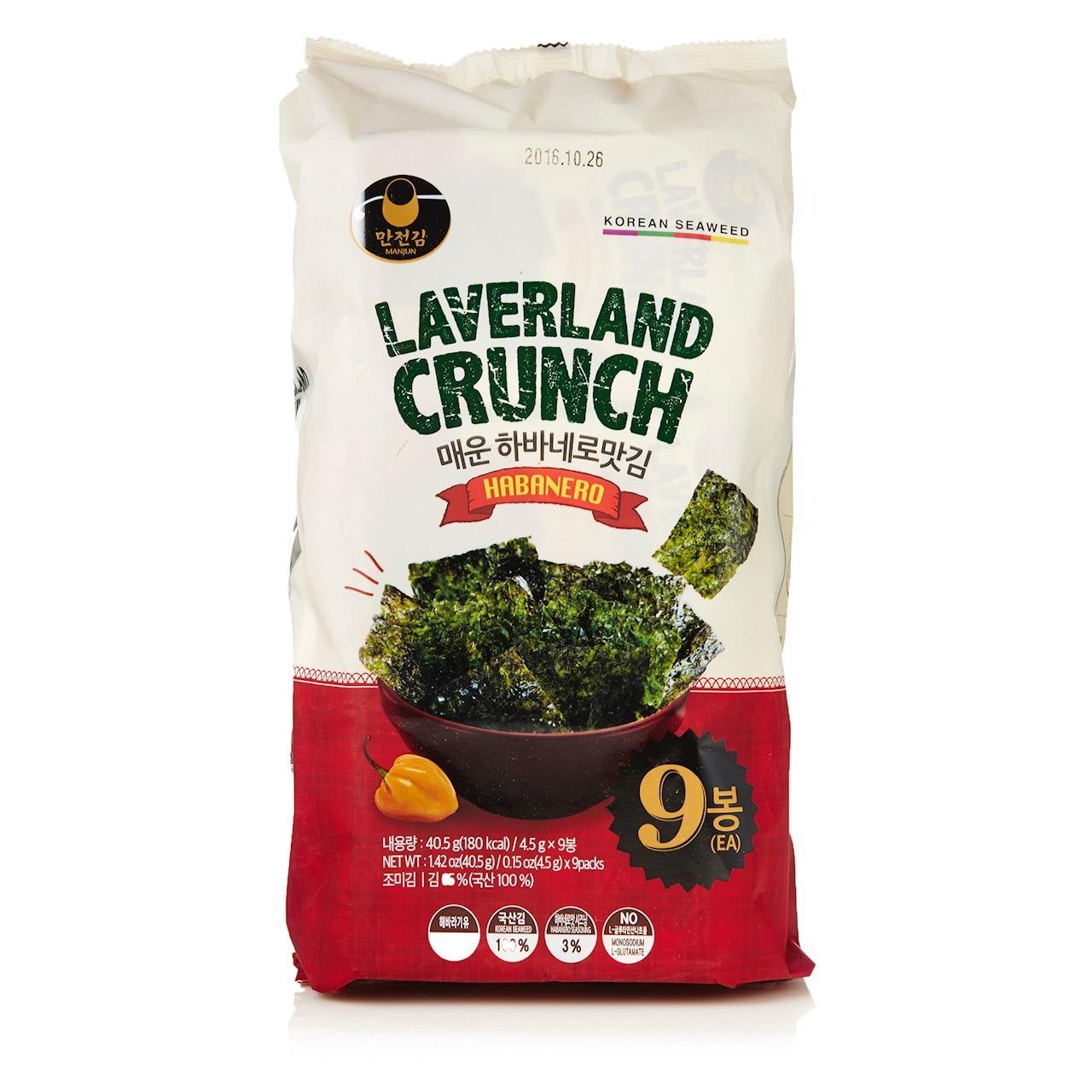 Rong biển HQ Laverland Crunch Vị Habanero 40.5g ( 9gói * 4.5g)