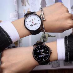 Đồng hồ cặp My Boy My Girl Cao Cấp (Dây Đen, Mặt Hình Tròn)