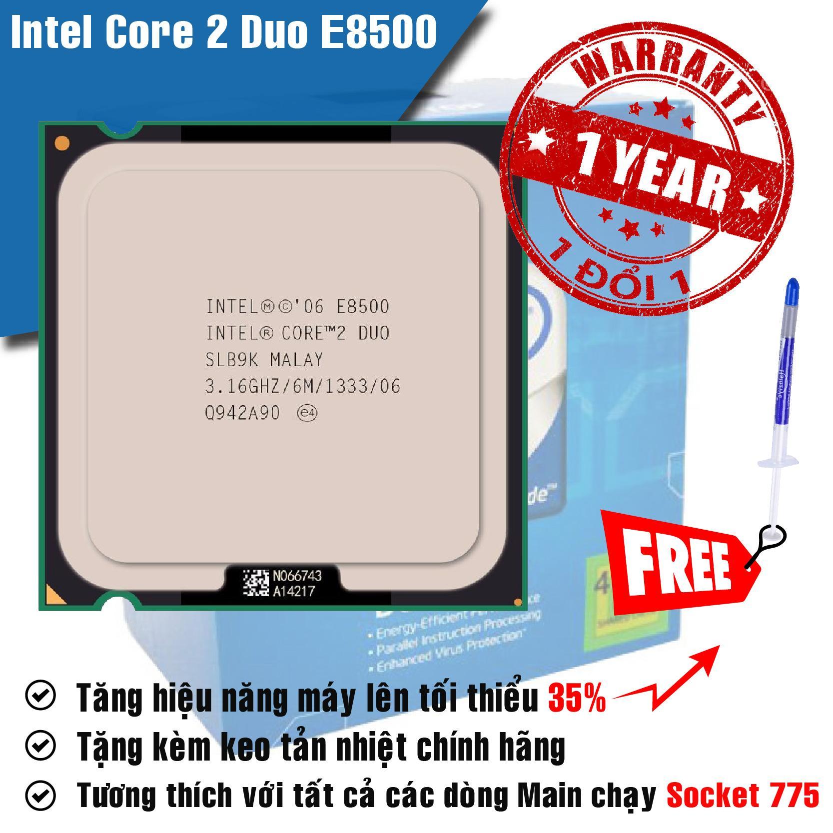 Đánh giá Bộ vi xử lý Intel Core 2 Duo E8500 3.16GHz, 2 lõi, Bus 1333MHz, Cache 6MB – Tặng Keo Tản Nhiệt. Tại Shop Computer Laptop