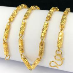 Vòng cổ nam,Dây chuyền khắc hoa văn mạ vàng 24k – Loại ống to