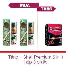 Bộ 2 Chai Tinh Chất Longtime Thái kéo dài thời gian quan hệ và trị xuất tinh sớm + Tặng 1 Hộp Bao Cao Su Shell ( 3 chiếc ) – [ Gunshop-TC04 ]