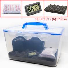 Combo hộp chống ẩm có tay cầm và ẩm kế, 100gram hạt hút ẩm xanh cho máy ảnh, máy quay phim – dung tích 8 lít (tặng mút xốp lót hộp) – PHUKIEN2T_Q01105