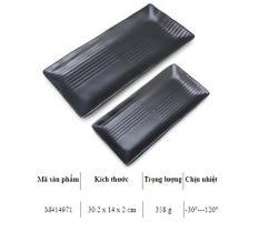 Dĩa Chữ Nhật Sọc Lớn Cao Cấp Đựng Sushi Đen mờ 30*14*2 Cm M414971