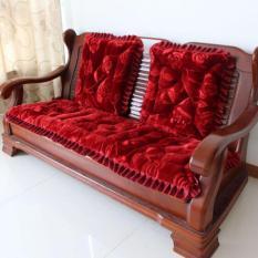 Bộ 3 Tấm Nệm lót ghế Dạng Thảm Nhung 3D có viền – Chần bông Dày Dặn