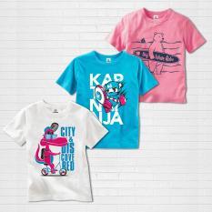 Bộ 3 áo thun bé trai màu Xanh, Trắng và Hồng Dâu thương hiệu cao cấp TAMOD.
