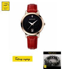 Đồng hồ nữ dây da cao cấp SANDA JAPAN (Đỏ) + Tặng vòng tay tỳ hưu phong thủy