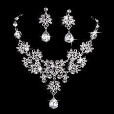 Bộ trang sức hoa đá pha lê giọt nước điệu đà cho dạ tiệc, trang điểm cô dâu