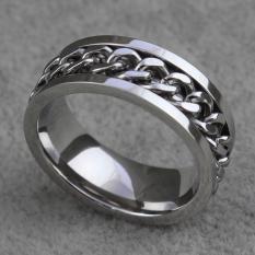 Nhẫn chuỗi xích Titan sáng chói lóa quay xoanh trục phong cách Âu Mỹ RB80 thiết kế thời trang, kiểu dáng đa phong cách