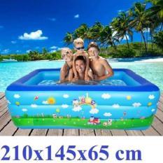 bể bơi mini gia đình, tam be boi tre em, Bể bơi phao Cỡ lớn cho bé và gia đình – Bể bơi phao 3 Tầng cỡ lớn: 210 X 150 X 60 cm. loại dày tặng kèm ( Bơm hơi + Miếng Vá ) , ho boi danh cho em be