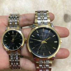 Cặp Đồng hồ Halei nam nữ cao cấp chống xước, chống nước tuyệt đối (Giá 1 đôi) dây demi mặt đen