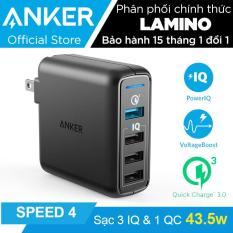 Sạc ANKER PowerPort Speed 4 cổng 43.5W Quick Charge 3.0 và PowerIQ (Đen) – Hãng phân phối chính thức