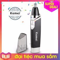 Máy tỉa lông mũi Kemei KM-6512 dùng pin tiện lợi (màu đen phối bạc)