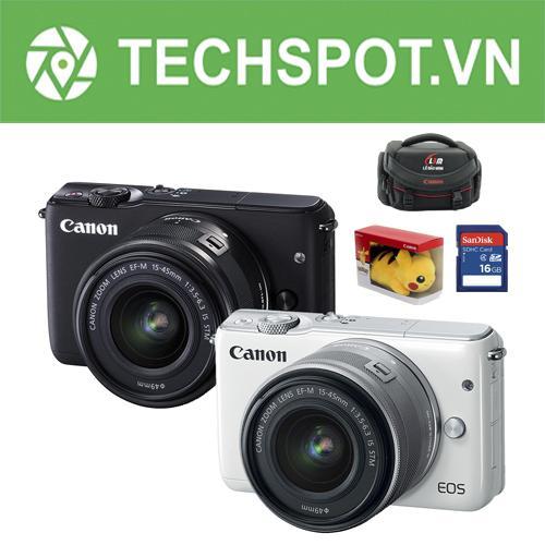 Canon EOS M10 18MP kèm lens kit EF-M 15-45mm F 3.5-6.3 IS STM (Đen) + Tặng Khoá học nhiếp ảnh EOS + Pikachu + Thẻ SD 16gb + Túi