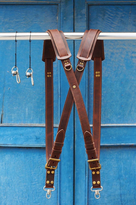 Dây đeo 2 Máy Ảnh Da Bò Handmade DNStore-1204