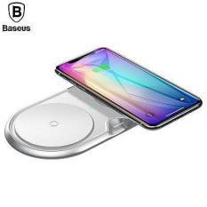 Đế sạc nhanh không dây kép sạc 2 máy cùng một lúc công xuất 10W thông minh chuẩn Qi cho iphone X , iphone 8,Samsung S9, Note8 đến từ Hãng Baseus WXXHJ