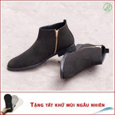 Giày chealsea boot nam kéo khóa đen buck CB521-DENBUCK ( T)