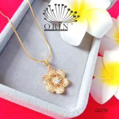 Dây chuyền mặt hoa tia 6 cánh dây mì khóa tròn cao cấp Orin D3776