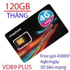 Siêu Sim 3G/4G VD89Plus Vinaphone 120GB/Tháng + gọi miễn phí-Hot 2018