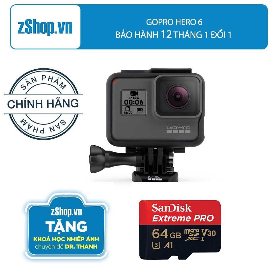 Máy Quay Hành Trình Gopro Hero 6 Black – Bảo hảnh 12 tháng 1 đổi 1 – Tặng Thẻ nhớ MicroSDHC Sandisk Extreme Pro 64GB 100Mb/s – Tặng khoá học nhiếp ảnh chuyên đề Dr. Thanh