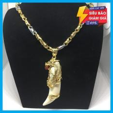 Dây chuyền bạc Thái mạ vàng cao cấp mặt nanh Rồng Ngọc đỏ