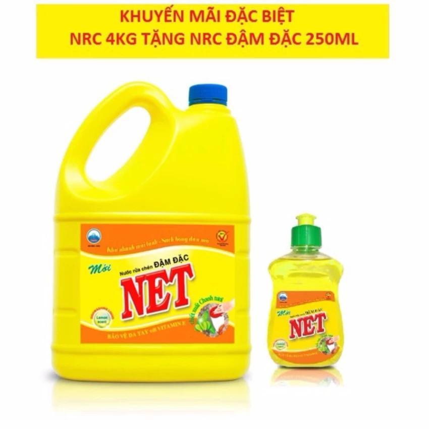 Nước rửa chén Net Đậm Đặc hương Chanh can 4kg tặng nước rửa chén 250ml