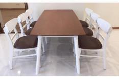 Bộ bàn ăn mango nâu trắng 6 ghế