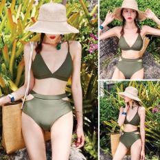 Bikini tam giác cạp cao xanh rêu