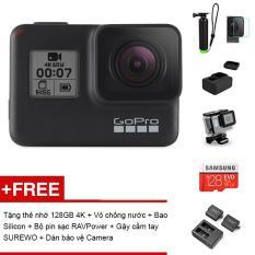 Máy quay phim GoPro HERO 7 Black – Tặng thẻ nhớ MicroSD 128GB + Bộ 2 Pin và Sạc đôi Ravpower + Gậy cầm tay Kingma + Vỏ chống nước + Dán Bảo vệ lens + Case Silicon