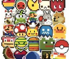 [SET ST019] Bộ 25 sticker hoạt hình pixcel dán laptop, decal dán mũ, xe