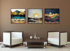 Tranh Canvas Trang Trí Tường 3 Tranh Mặt Trời