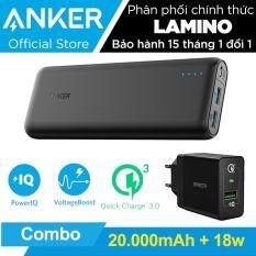 Bộ pin sạc dự phòng ANKER PowerCore Speed 20000mAh QC 3.0 + Sạc tường PowerPort+ 18w QC 3.0.