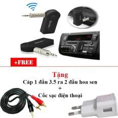 Combo Usb tạo Bluetooth cho dàn âm thanh xe hơi, amply, loa Car Bluetooth BTR302 (Đen) + Cáp 1 đầu 3.5 ra 2 đầu hoa sen + Cốc sạc điên thoại