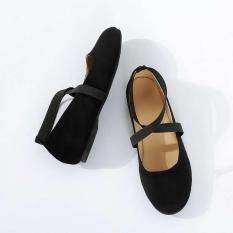 Giày búp bê bệt nhung chéo cổ chân Rosa
