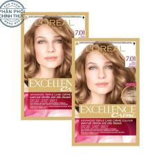 Bộ 2 kem nhuộm dưỡng tóc phủ bạc L'Oreal Paris Excellence màu 7.01