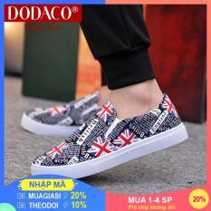 [Ship Ko Tăng Khi Mua 1-3 SP] – Giày lười nam vải giày mọi DODACO LVS0007 (Đen Xám Đỏ Vàng)