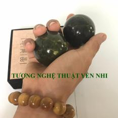 Bi đá lăn tay-Bảo kiện cầu ngọc Hàn Quốc (thiên nhiên 100%-Màu xanh đen) size 4.5cm