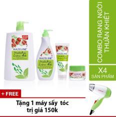Bộ Hazeline matcha & lựu đỏ gồm 1 sữa rửa mặt 100g + 1 dưỡng thể 370ml + 1 sữa tắm 1.2kg + 1 kem mềm 45g + Tặng 1 máy sấy tóc trị giá 150k