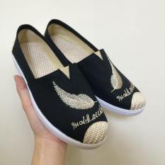 Giày lười nữ thêu lông vũ bọc cói vintage