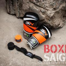 Combo găng tay Boxing + băng quấn tay BN ( Cam )