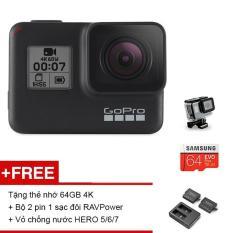 Máy quay phim GoPro HERO 7 Black – Tặng thẻ nhớ MicroSD 64GB 4K + Bộ 2 pin 1 sạc đôi RAV Power + Vỏ chống nước HERO 5/6/7