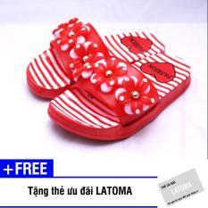Dép quai ngang bông hoa bé gái cao cấp Latoma TA1167 (Đỏ)+ Tặng kèm thẻ ưu đãi Latoma