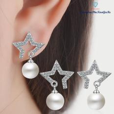 Bông tai sao cách điệu đính ngọc trai, xi bạc 925, phong cách, HT20