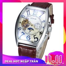 Đồng hồ cơ nam SEWOR IW-SE01 dây da lộ máy cổ điển 5 kim viền trắng