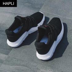 Giày sneaker nữ đẹp Pp chữ M hai lớp khỏe khoắn HAPLI (Trắng, Đen)