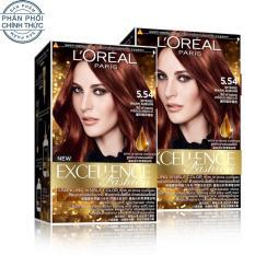 Bộ 2 kem nhuộm dưỡng tóc L'Oreal Paris Excellence Fashion màu 5.54