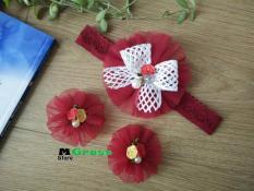 Set băng đô thun mềm cực yêu màu đỏ đô cho bé gái – MG Store